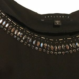 sanctuary black top with silver studded neck